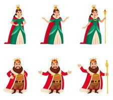 King and quin in different poses. vector