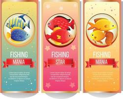 colorful fishing banner collection vector