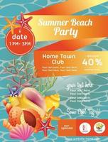 cartel de fiesta de playa de verano colorido con concha de mar vector