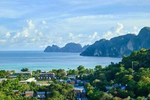 Panoramic view from high angle viewpoint on Phi Phi Island. photo