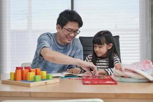 Asian father is teaching art to his daughter. photo