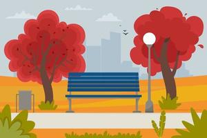 Autumn landscape with bench in the park and trees. Vector illustration