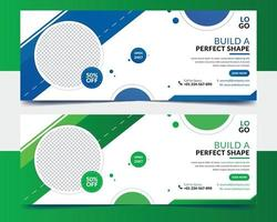 Creative gym fitness banner design template vector