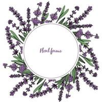 Round floral frame with lavender flowers. Vector illustration