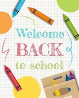 Back to school banner with crayons on copybook paper. Vector