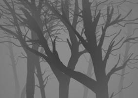 Silhouette illustration of a misty dark woods vector