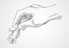 Human hand holding chess knight piece vector