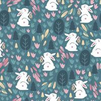 Happy Easter Seamless pattern with rabbit. Vecto vector
