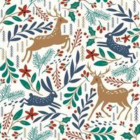Seamless pattern with deer and rabbit. Winter background. Vector