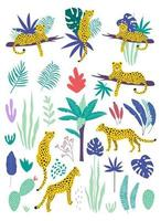 Set of leopards and tropical leaves.Vector vector