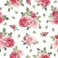 Seamless pattern with roses. Vintage floral background. Vector