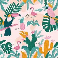 Tropical seamless pattern with toucan, flamingos, parrot. Vector