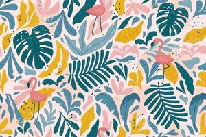 Tropical seamless pattern with flamingos, exotic leaves. Vector