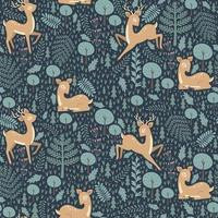 Seamless pattern with christmas deer. Vector