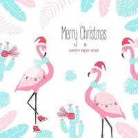 Christmas card with cute flamingo on a white background. Vector