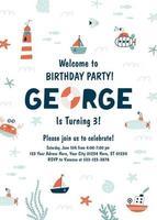 Ocean birthday party invitation. Under The Sea Invitation. Vector