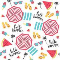 Summer pattern. Beach umbrellas pattern. Vector illustration