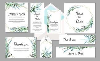 Set Wedding invitation vintage card with leaves. Vector
