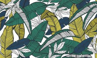 Seamless tropical pattern with banana leaves. Hand drawn vecto vector
