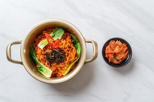 Korean instant noodles with vegetable and kimchi - Korean food style photo