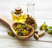 St. John's wort, herbal medical pills photo