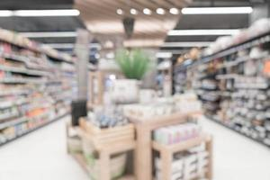 Abstract blur in supermarket for background photo