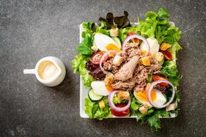 Tuna with vegetable salad and eggs photo