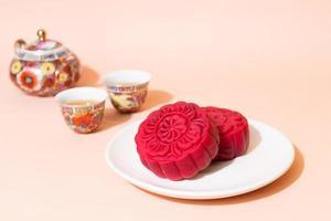 pastel de luna sabor terciopelo rojo para el festival del medio otoño foto