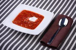borsch in white plate photo