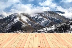 Wooden table on Winter Mountain photo