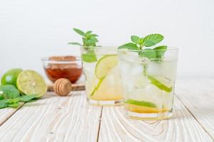 Iced honey and lime soda with mint - refreshing drink photo
