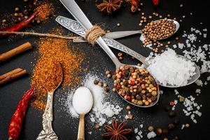 A set of spices and herbs with spoon photo