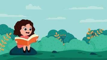 cartoon girl reading a book outdoor vector