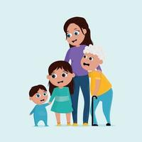Cute cartoon family with mother grandmother sister and baby brother vector