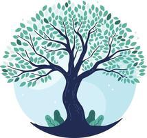 Hand Drawn Tree Life Blue Tones Vector Illustrator