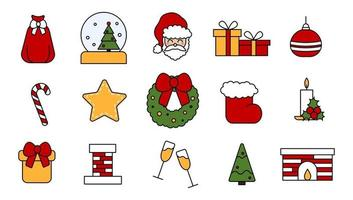 Set of vector elements for the celebration of Christmas and New Year