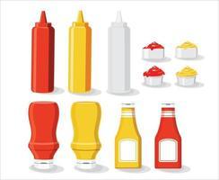 Sauce mock up set vector illustration isolated white background