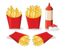 French Fries In Red Box  Illustration vector