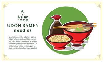 Japanese Udon Ramen On A Bowl , Noodle Soup,  Vector illustration