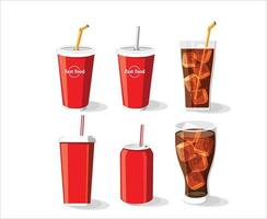 Soft drink bottle and glass, Cold coke drink with ice in a glass vector