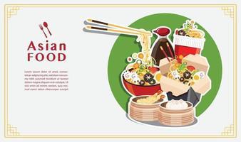 Noodle Soup, take away box, Japanese Ramen, Vector illustration