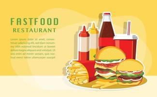 Fast food, Tasty set fast food vector isolated on white background