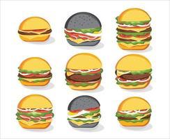 Burger sandwich, Fast food menu. Hamburger, Vector illustration