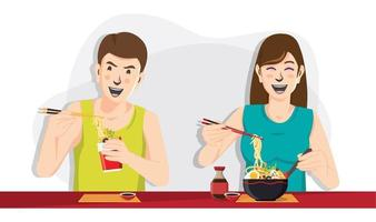 Man and woman eating noodles, People eating food vector image
