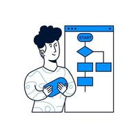 a man makes a flowchart. trendy vector illustration style