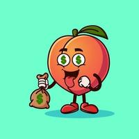 Cute Peach fruit character with money eyes and holding money bag. vector