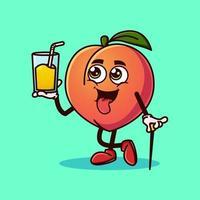 Cute Peach fruit character with Peach juice on hand. vector