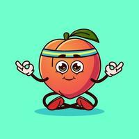Cute Peach fruit character Meditation. vector
