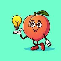 Cute Peach fruit character with light bulb Idea on hand vector