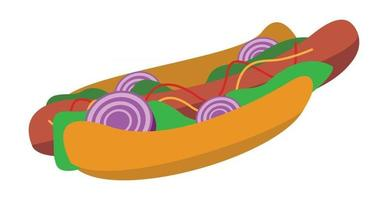 Realistic Sandwich with Sausage and Fresh Vegetables - Vector